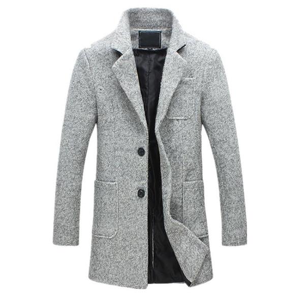Neue Mode Lange Trenchcoat Männer 40% Wolle Dicke Winter Herren Mantel Erbse Trenchcoat Männliche Jacke