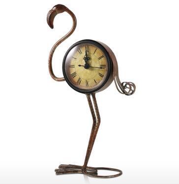 Tooarts Flamingo ferro forjado Retro clock decoração Mesas Relógio Tabela Handmade metal Vintage Home Decor estatueta Mute
