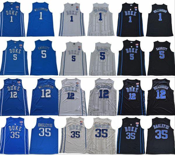 2018 2019 Jersey Duke Blue Devils NCAA College 1 Zion Williamson 2 Cam Rouge 5 RJ Barrett 35 Marvin Bagley III 34 Wendell Carter Cousu