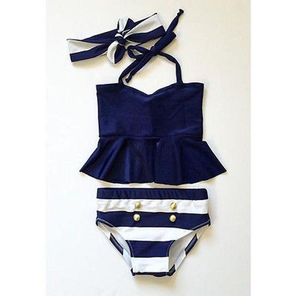 Girl Swimwear 3 Pieces bikini set Navy Tops Striped Swimsuit Swimwear Bathing Clothes baby swimming suit