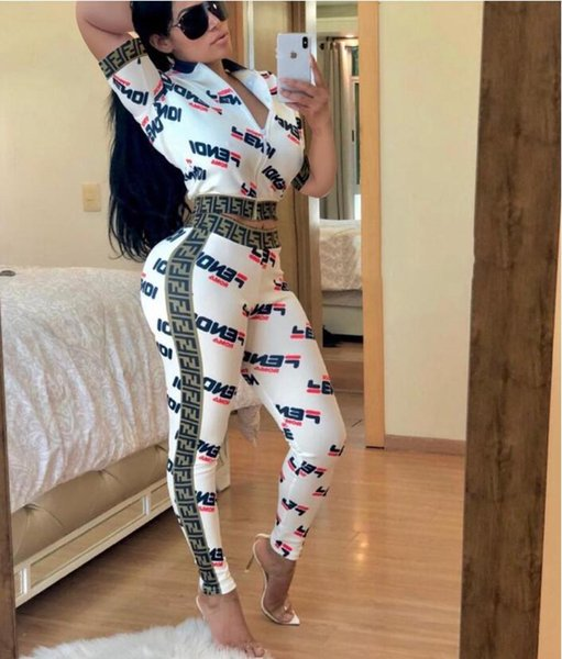 2019 Two sets of digital printed Ribbon zipper splicing for sexy women's wear in Europe and America Women's box logo Two Piece Pants
