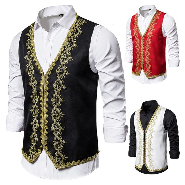 SJ4 Uomini Stampa Blazer Gilet formale di business Maschio canotte casual Wedding Party fase Sleveless Gilet Slim serbatoio Gilet