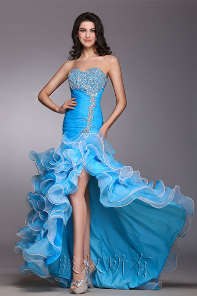 Wholesale Factory Blue color strapless long dress Party Evening Dresses Prom Dress High Split Sexy Formal Party Bridesmaid Pageant Gowns LF5