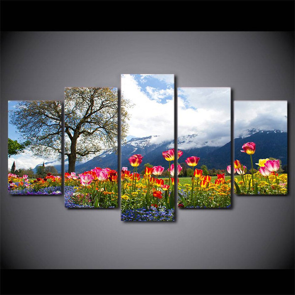 Home Decor Living Room Wall Pictures 5 Pcs Tree Flowers Nature Scenery Art Painting Modular HD Print Canvas Poster (No Frame)