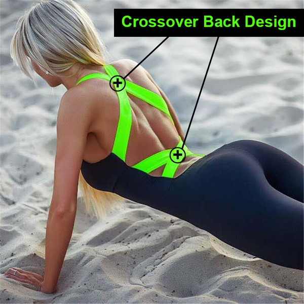 2018 Workout Tracksuit For Women One Piece Sport Clothing Backless Sport Suit Running Tight Dance Sportswear Gym Yoga Women Set C19032601