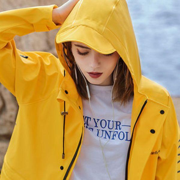 Yellow Men Raincoat Waterproof Coat Women Overall Raincoat Outdoor Impermeable Lluvia Rain Coat Adult Jacket Cloak Coat 40R15