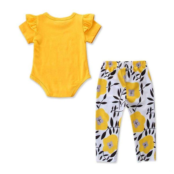 Pagliaccetto in cotone per bambina Set Baby Girl Yellow Romer Tops + flower pant 2PCS Outfit Summer Autumn Clothing per 0-3t