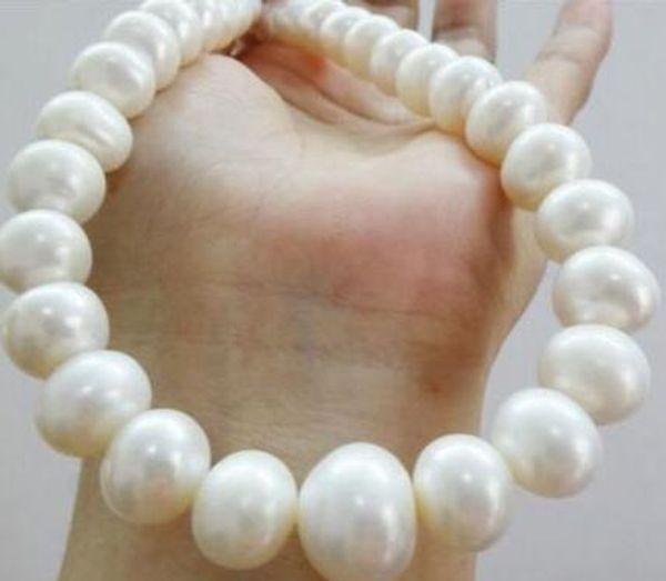 Spedizione gratuita nobile acqua dolce, gioielli 11-13mm collana di perle bianche oro 14k