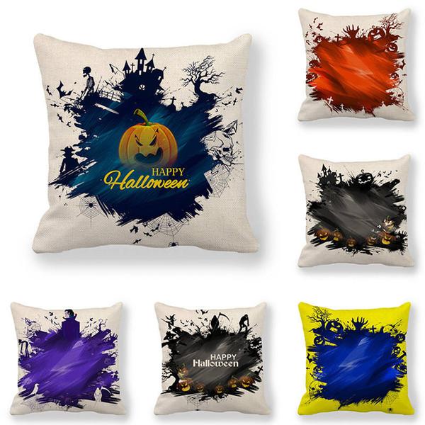 Funda de cojín de 45 cm * 45 cm Funda de almohada de lino / algodón de Halloween Graffiti Design sofá y funda de almohada decorativa para el hogar