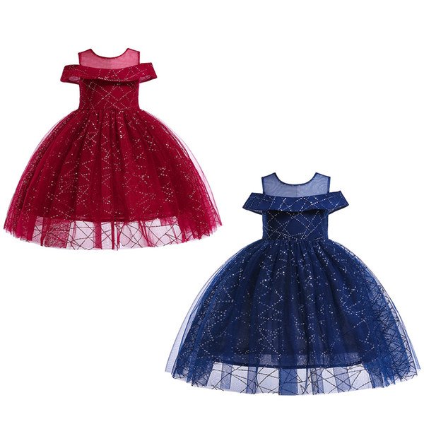 Grandes Meninas vestido de Baile Vestidos Bow Tie Sash Vestido Invisible Zíper Sólido Lantejoulas Malha Vestido 2 + Kid Designer de Festa de Casamento Vestido de Princesa 2-8 T