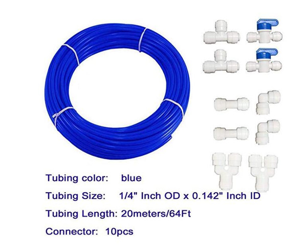 top popular Malida 1 4 inch RO Water blue Tubing, Hose Pipe for RO Water purifiers System,+quick connector 10pcs. (tubing 20meters) 2021