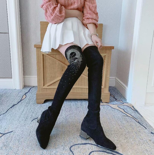 Hot Sale-New Fashion Womens Boots With Rhinestones Boots Ladies Thigh-High Boots Square Toes Women Square Heel Shoes