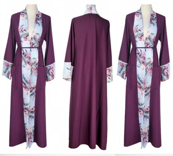 Chiffon Printed Fashion Muslim Evening Robe Moroccan Kaftan 2019 Robe De Soiree Dubai Lace Applique Formal Dress Long Sleeve