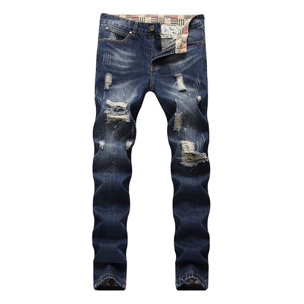 Ripped Jeans For Men Slim Fit Hole Hip hop Jeans Pants Stretch Distressed Male trousers Plus Size