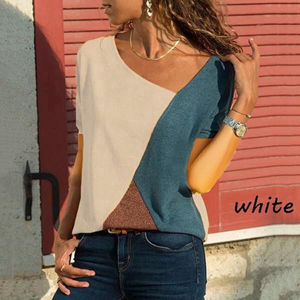Novo Design Mulheres Moda Verão T-shirt Casual Em Torno Do Pescoço Costura Contraste de manga Curta Camisa Plus Size Roupas Top Fêmeas