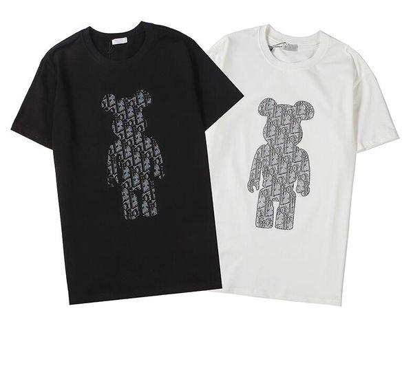 Vender bien Nueva pulverización directa impresión digital importada estampación en caliente delante oso y la espalda alta densidad para hombre bordado camisa