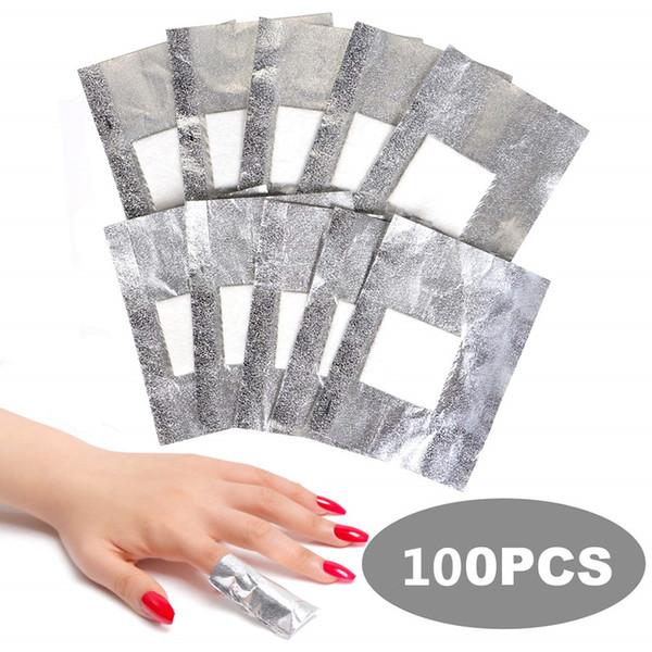 100 Pcs Nail Polish Remover Nail Foil Wraps Nail Gel Remover Soak Off Foils Cotton Pads Acrylic Removal Wraps