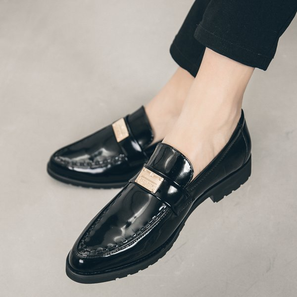 Men Fashion Dress business Leather Shoes outdoor Slip-on Solid Color Pointed Toe Comfortable Single moccasins Shoes men j3