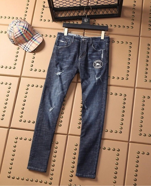 J8 Tendência Retro camuflagem Jeans Masculino Marinha Nostalgia desgaste lavagem Magro Pequenas Calças retas