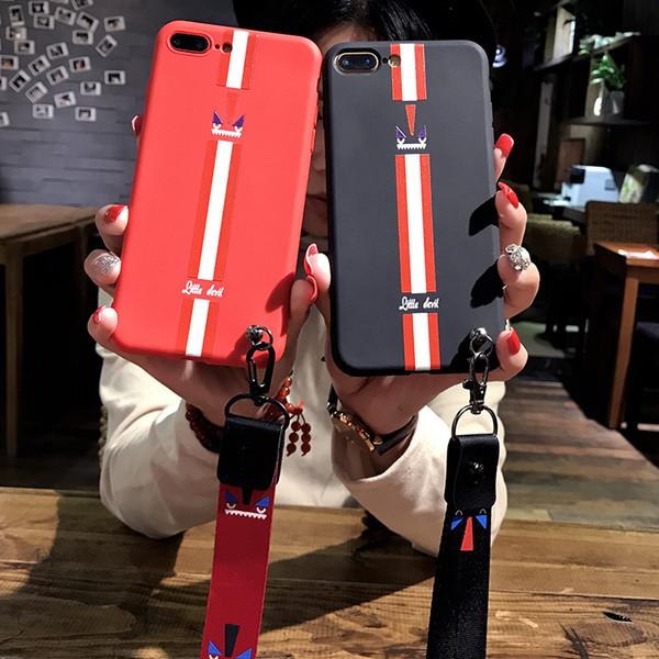 Venta al por mayor marca de moda pequeña ola Demonios ojos cubierta trasera del teléfono para iPhone 6 / 6s 6 / 6sp 7/8 7 / 8p X caja del teléfono de protección con cordón