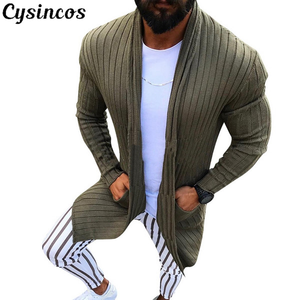 cysincos cardigan men long sleeve striped midi sweater coat pocket winter autumn casual solid color cardigans pull homme hiver