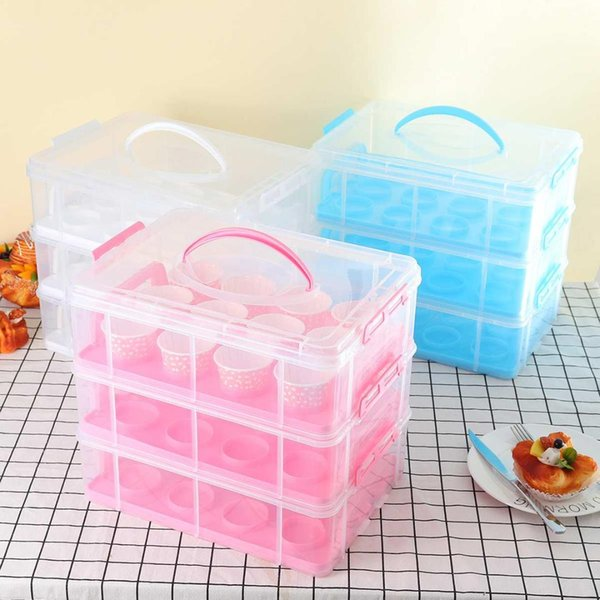 3 Tiers 36 Pieces Cupcake Storage Box Organizer Cake Carriers Adjustable Snap Cupcake Holder Container Stackable Portable Box