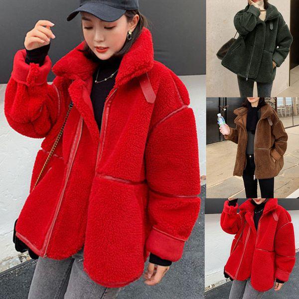 Zipper Lamb Hair Warm Coat Women Ladies Solid Polyester Short Lamb Hair Coat Short Fur One Thick Velvet Motorcycle Clothes T191108