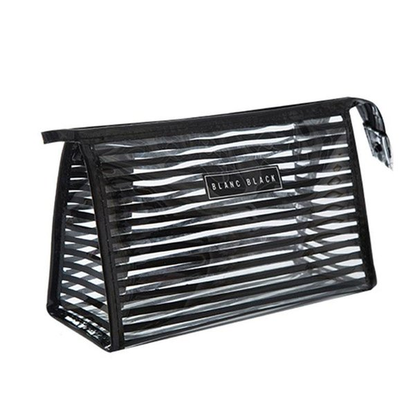 Lady Traveling on Business Cosmetic Cases Striped Waterproof Storage Bags PVC Transparent Hand Box Eyebrow Lipstick Beauty Portable Bath Ba