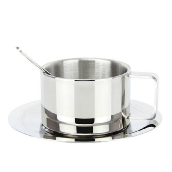 Verdickte 304 Edelstahl Kaffeetasse Set Europäische Freizeit Blume Tasse Milch Kreatives Wasser
