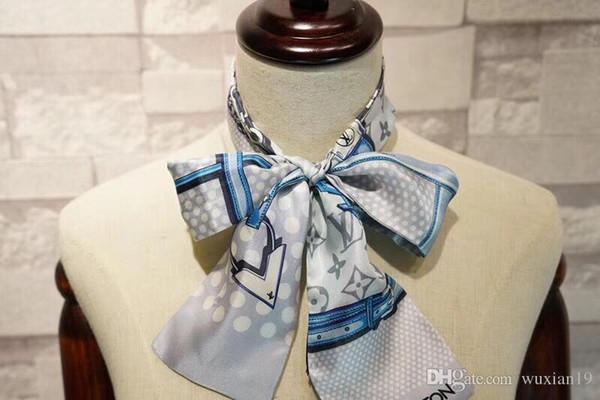 Vente en gros 2019 New Hot vente Sac Marques femmes Petit Foulard en soie imprimé fleurs Coiffe Poignée Sac long ruban Echarpes Wraps 8,8 * 120cm
