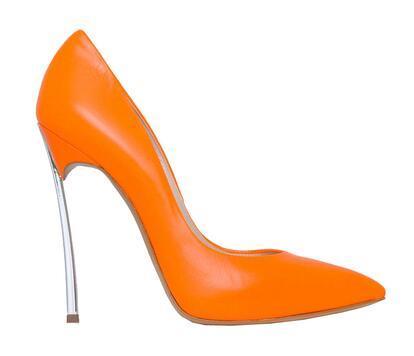 Senhoras metálicas saltos altos rosa branco preto saltos altos estiletes pontudos laranja