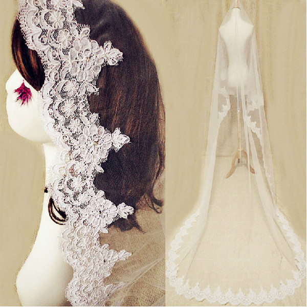 2019 Charming Cathedral Length Wedding Veils For Bride No Comb One Layer Lace Applique Edge Cheap Bridal Veil Country Beach Wedding dress