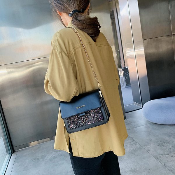 Charismatic2019 Texture Black Joker Package Woman New Pattern Autumn And Winter Fashion Restore Ancient Ways Paillette Muscular Slung Packet