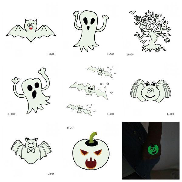 Citrouille Fantôme Impression Décoration De Tatouage Autocollant Halloween Partie Nuit Lueur Autocollants Prop Homme Et Femmes Mode Conception Différente 0 5jmH1