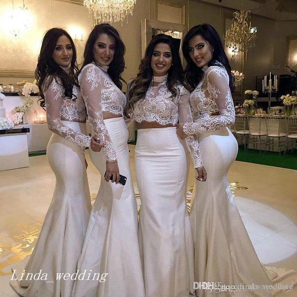 2019 Two Pieces Mermaid Lace Formal Bridesmaid Dress Cheap Arabic Sheer Long Sleeves Maid of Honor Gown Plus Size Custom Made