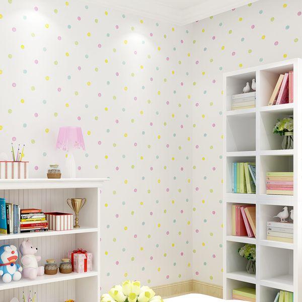 Cute Cartoon Kids Room Colorful Dot Wall Paper Baby Boys Girls Bedroom Wallpaper Mural Papier Peint Children Wallpapers Qz120