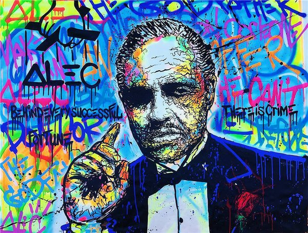 High Quality Alec Monopoly Handpainted Abstract Graffiti Art Oil Painting The Godfather On Canvas Wall Art Home Decor g32