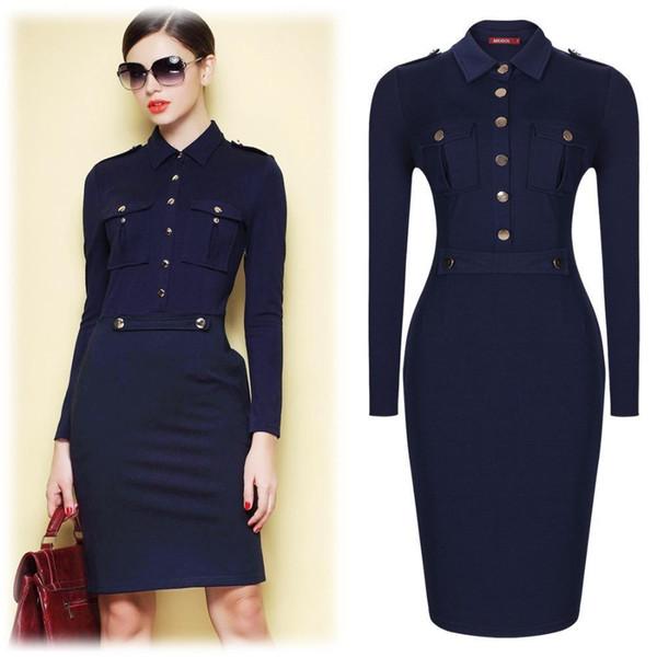 Women Summer Dark Blue Vintage Collared Elegant Long Sleeve Bodycon Workwear Business Office Career Casual Dress Size SM-XXL2115