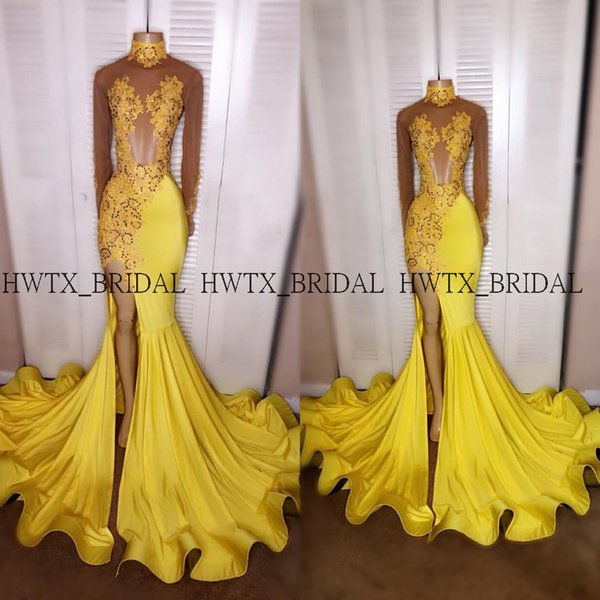 Sexy Yellow High Slits Prom Dresses 2k19 Illusion Long Sleeves High Neck Mermaid Long African Black Girls Prom Dress Formal Gown