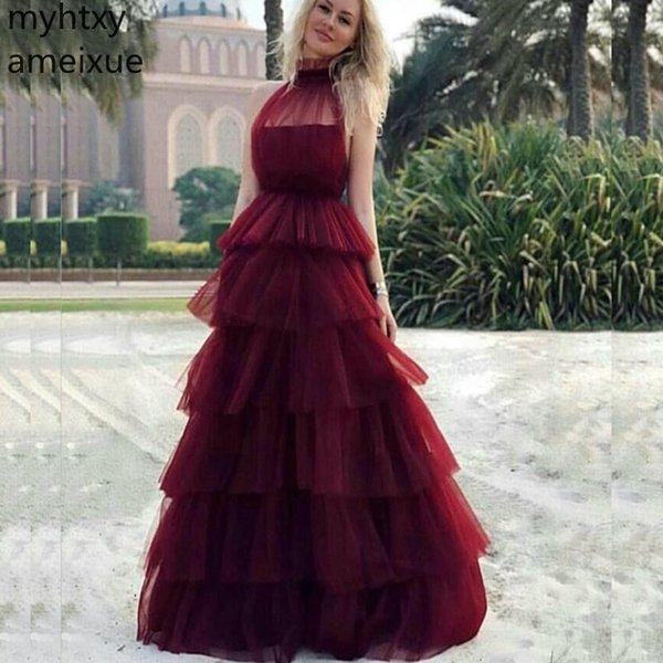 New Arrival Plus Size High Neck Sexy Big Red Cake Skirt Evening Dress 2019 Long Dresses Party Gown Robe De Soiree Gowns Longue