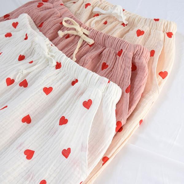 Femmes 2019 Nouveau Sweet Sleep Bottoms Rétro Lace Up Poches Coeur Imprimer Pyjama Pantalon Casual Harem Pantalon Lâche