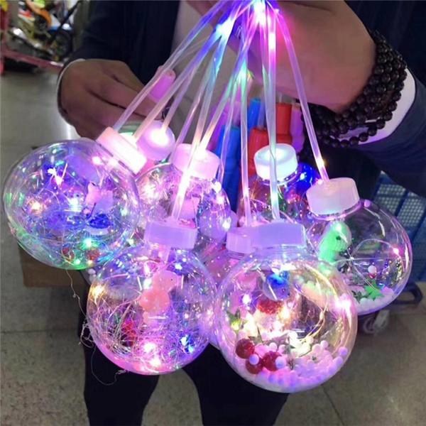 2019 LED Lantern Balloons Hand Flashing Balloons Night Lighting Bobo Ball Led String Lights Multicolor Balloon With Handle Valentines Day