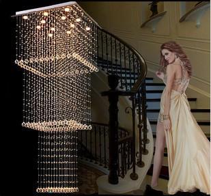 Modern Lustre de Cristal Luminária de Suspensão Escada Luminária Projeto Quadrado LED Corredor Interior Iluminação Luminária Suspensão LLFA