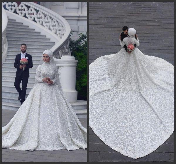 Neue High Neck Langarm Arabisch Hijab Muslim Brautkleider Romantische Applikationen Spitze Weiß Brautkleider Gericht Zug abiti da sposa