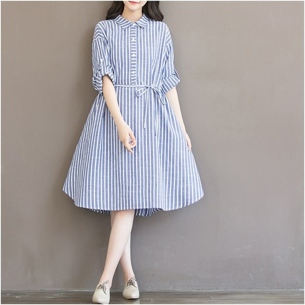 Ladies A Line Dresses Striped Pattern Long Sleeve Knee Length Linen Breathable Spring New Style S-3XL Plus Size Women Shirt Dresses