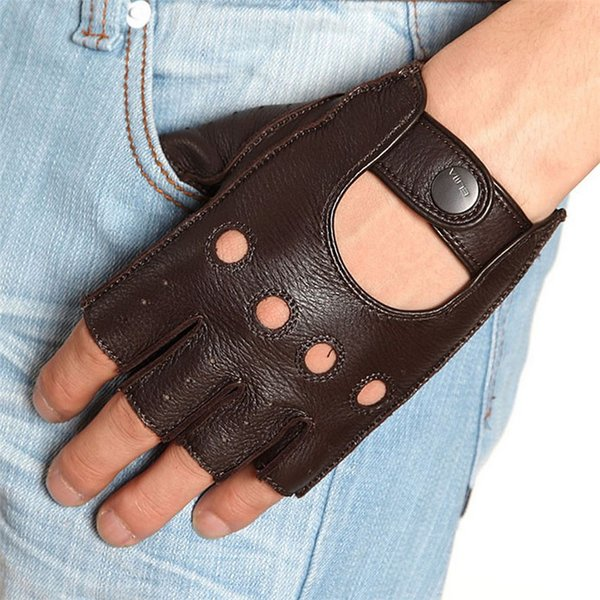 Fashion Fingerless Men Deerskin Gloves Wrist Half Finger Driving Glove Solid Adult Mittens Real Genuine Leather EM001W-5