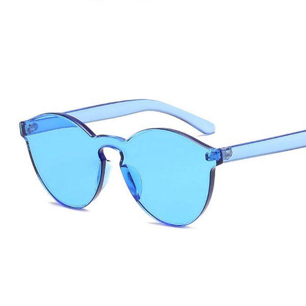 Luxury-women sunglasses candy color personality trend HD sun glasses frameless transparent Goggle eyewear UV400