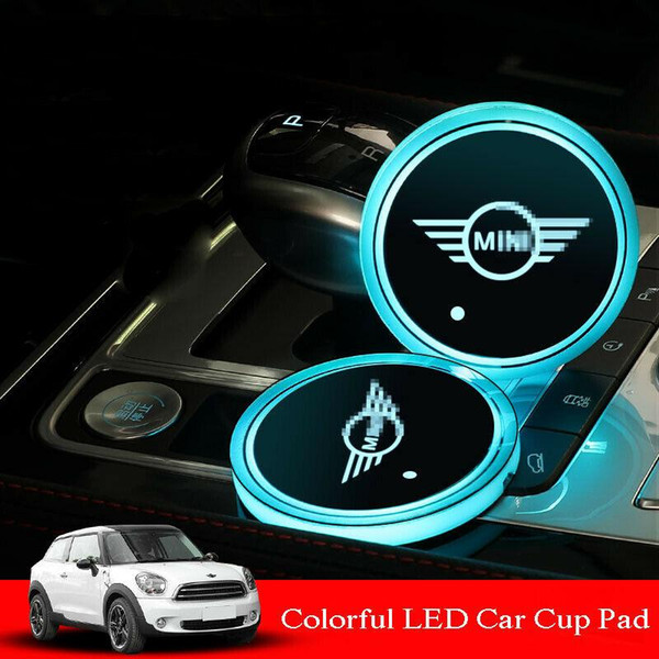Fit For BMW MINI RGB LED Car Cup Holder Pad Mats Auto Atmosphere Lights Colorful