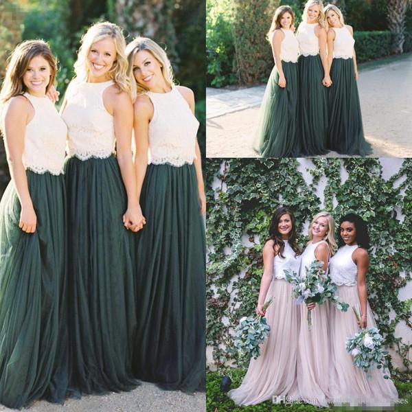 Vestidos de dama de honor largos de Country Tone Lace Crop 2018 Hunter Green Plus Size Junior Maid of Honor Wedding Party Vestidos de invitados