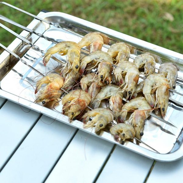 10 X  Barbecue Edelstahl Grillen Kebab Kebab Flachspieße Nadeln